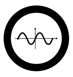 sinewave icon black color in circle vector image