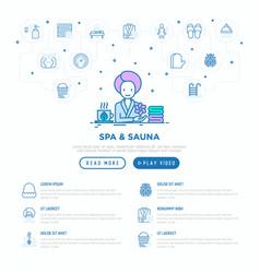 Spa sauna concept woman at spa thin line icons vector