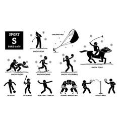Sport games alphabet s icons pictograph snow golf vector