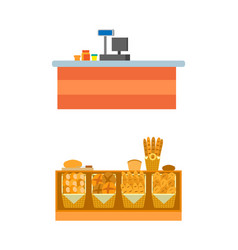 Supermarket empty seller counters and desks vector