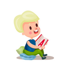 Sweet blonde girl sitting in a pillow and reading vector