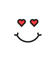 thin line love emoji logo with hearts vector image