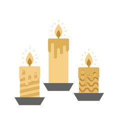 Three golden burning candles on white background vector
