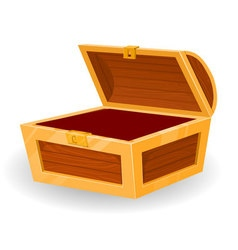 vintage wooden chest with open cover vector image