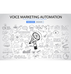 Voice Marketing concept with Doodle design style vector image