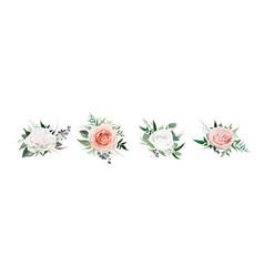 watercolor style floral rose flower bouquet set vector image