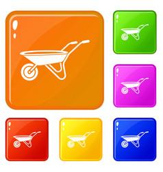 Wheelbarrow icons set color vector