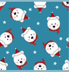 White bear santa claus with red scarf polka dot vector