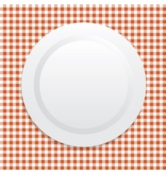 white plate on red tablecloth vector image