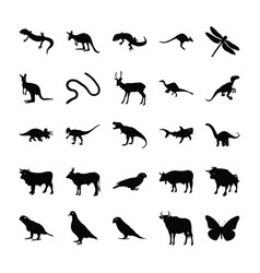 Wild animals filled icons vector