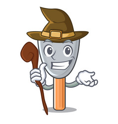 Witch cartoon putty knife in plaster vector