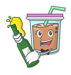 With beer bubble tea mascot cartoon vector
