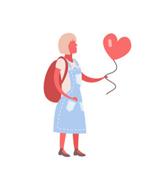 woman holding red heart shape air balloon happy vector image