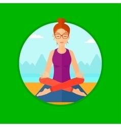 Woman meditating in lotus pose vector