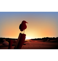 A sunset view of the desert with a big bird vector image