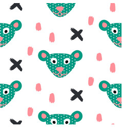 cute bear green fun seamless pattern for kids and vector image