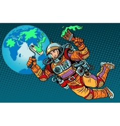 green Earth day ecology astronaut vector image