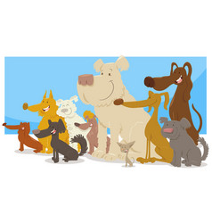 happy sitting dogs group cartoon vector image