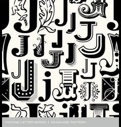 seamless vintage pattern letter J vector image