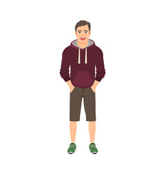 young man in hoodie vector image