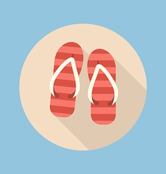 Beach slippers flat icon vector image