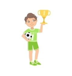 Boy Dressed As Football Player With Ball And Cup vector image vector image