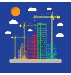 Construction site with buildings and cranes icon vector image vector image