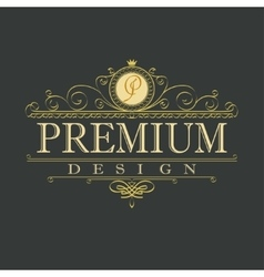 luxury ornament floral design logo vector image
