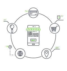 mobile marketing line vector image