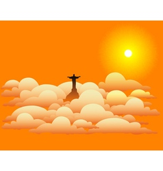 statue of Jesus Christ in the clouds vector image