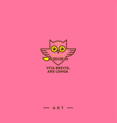 art logo on a pink background vector image
