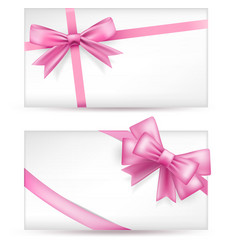 cards with pink bows vector image