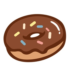 Chocolate donut with colourful sprinkles vector