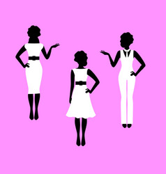 fashion woman model silhouettes set vector image vector image