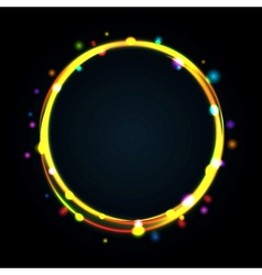 Multicolor glowing circle frame with sparkles vector image