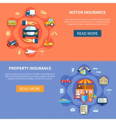 Vehicle And House Insurance Horizontal Banners vector image