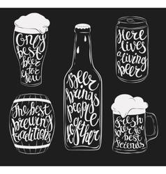 Beer pint glassware bottle barrel and can vector