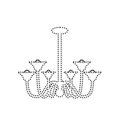 chandelier simple sign black dotted icon vector image