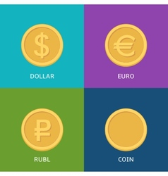 Flat money icons vector image