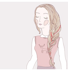 girl plait pink vector image vector image