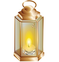 lantern with a candle vector image vector image