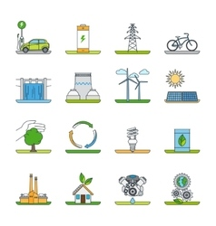 Renewable energy and green technology icons vector image