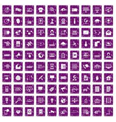 100 telecommunication icons set grunge purple vector