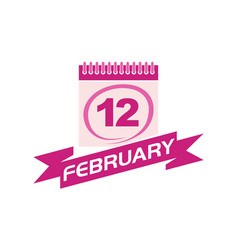 12 february calendar with ribbon vector image