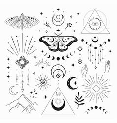 Abstract mystic black line design elements vector