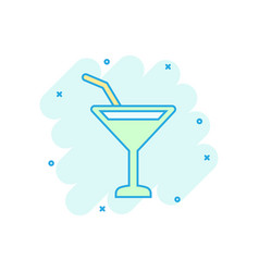 alcohol cocktail icon in comic style drink glass vector image