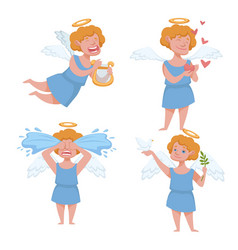 Angel kid with angelic wings having halo holding vector
