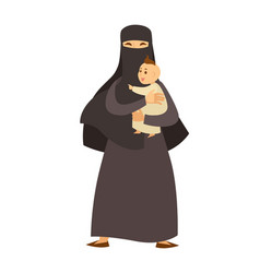 Arab woman in traditional clothes with little baby vector