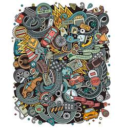 automotive funny hand drawn doodles vector image