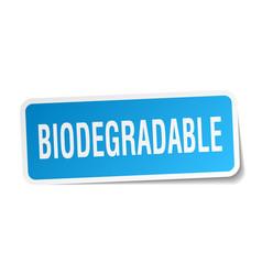 Biodegradable square sticker on white vector